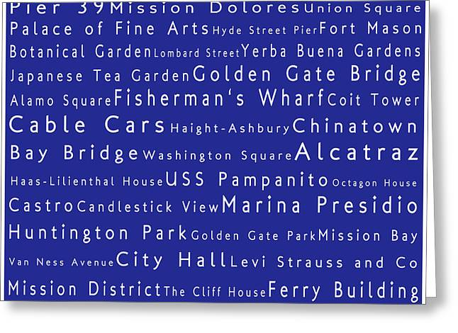 Frisco Pier Greeting Cards - San Francisco in Words Blue Greeting Card by Sabine Jacobs