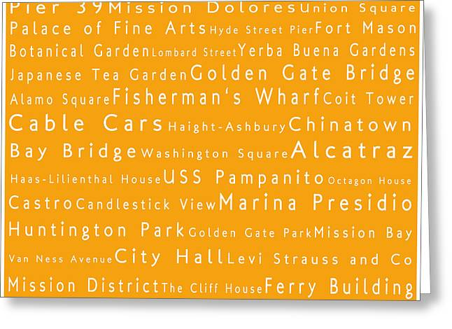 Union Square Greeting Cards - San Francisco in Words Orange Greeting Card by Sabine Jacobs
