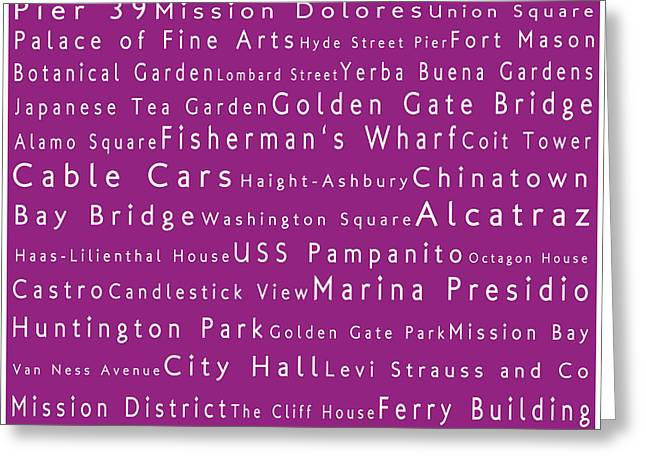 San Francisco In Words Pink Greeting Card by Sabine Jacobs