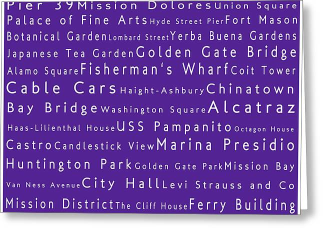 Union Square Greeting Cards - San Francisco in Words Purple Greeting Card by Sabine Jacobs