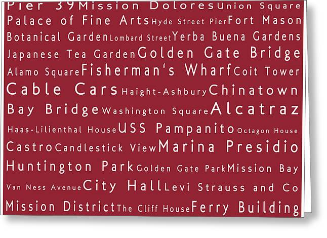 Union Square Greeting Cards - San Francisco in Words Red Greeting Card by Sabine Jacobs