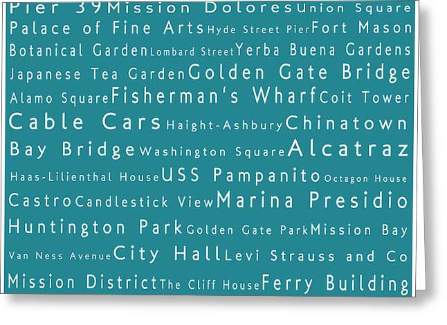 San Francisco In Words Teal Greeting Card by Sabine Jacobs