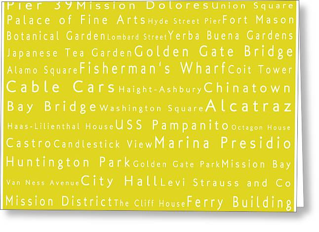 Union Square Greeting Cards - San Francisco in Words Yellow Greeting Card by Sabine Jacobs