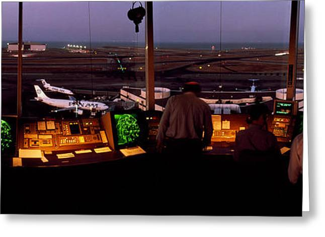 Console Greeting Cards - San Francisco Intl Airport Control Greeting Card by Panoramic Images