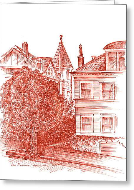Town Square Drawings Greeting Cards - San Francisco Jackson Street Greeting Card by Irina Sztukowski