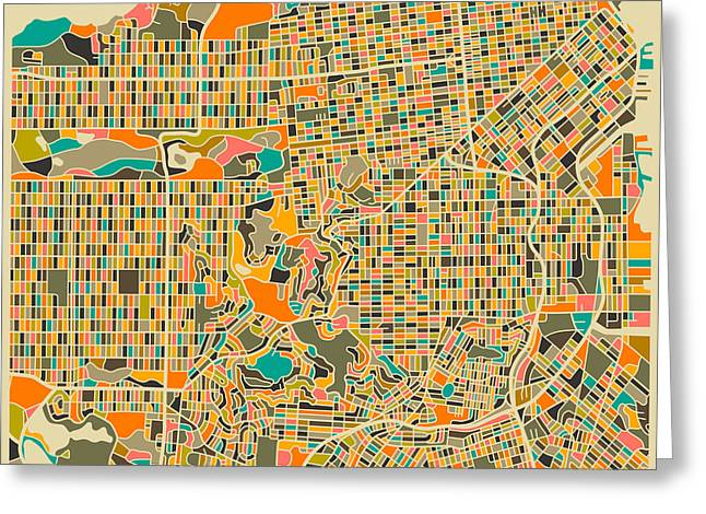 Street Artist Greeting Cards - San Francisco Map Greeting Card by Jazzberry Blue