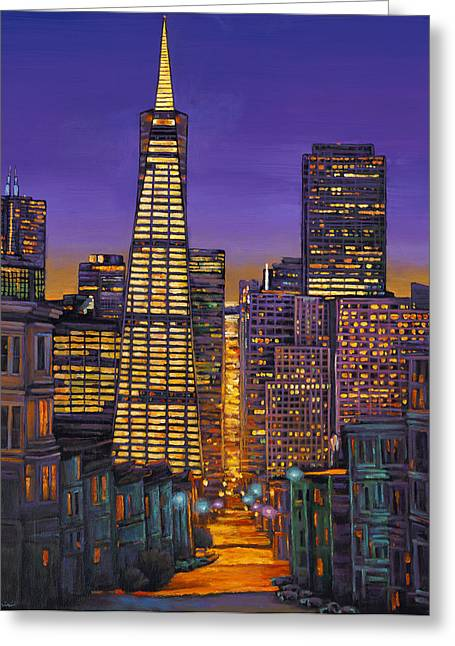 Line Paintings Greeting Cards - San Francisco Greeting Card by Johnathan Harris