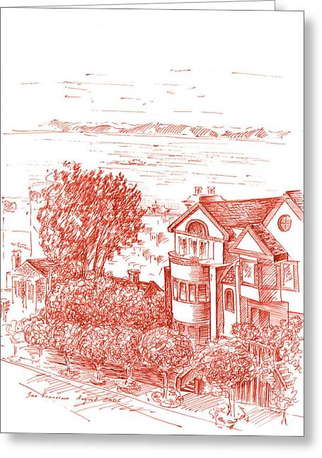 Town Square Drawings Greeting Cards - San Francisco Leavenworth Street Bay View Greeting Card by Irina Sztukowski