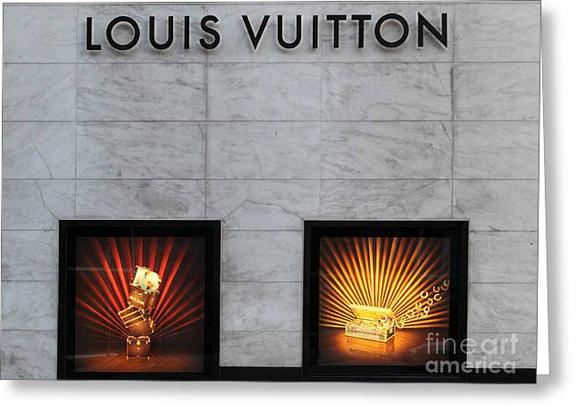 Ornate Door Greeting Cards - San Francisco Louis Vuitton Storefront - 5D20546-2 Greeting Card by Wingsdomain Art and Photography