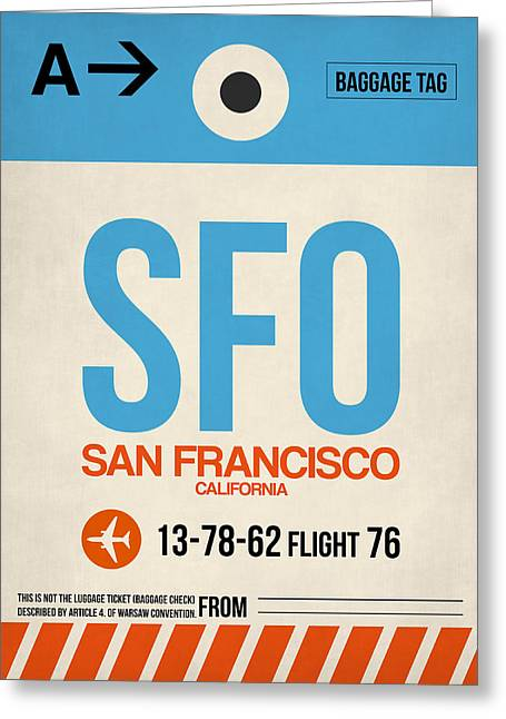 San Francisco Airport Greeting Cards - San Francisco Luggage Tag Poster 1 Greeting Card by Naxart Studio