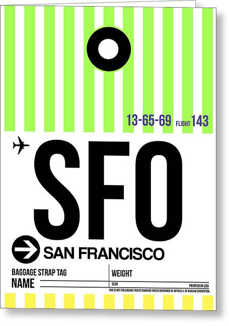 Airports Greeting Cards - San Francisco Luggage Tag Poster 2 Greeting Card by Naxart Studio