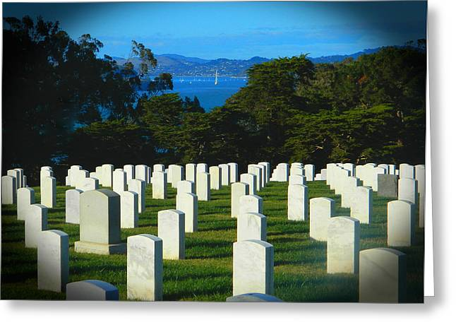 Soldiers National Cemetery Digital Art Greeting Cards - San Francisco National Cemetery In El Presidio Greeting Card by Emmy Marie Vickers