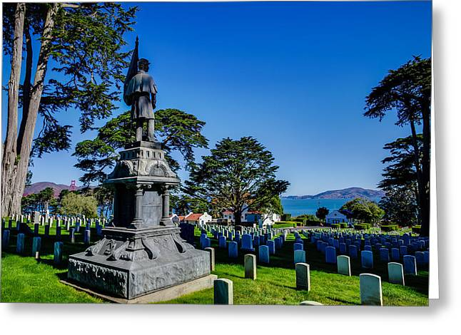Patriot Photography Greeting Cards - San Francisco National Cemetery Soldiers Memorial Greeting Card by Scott McGuire