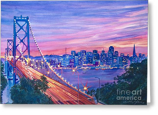 Skyline Paintings Greeting Cards - San Francisco Nights Greeting Card by David Lloyd Glover
