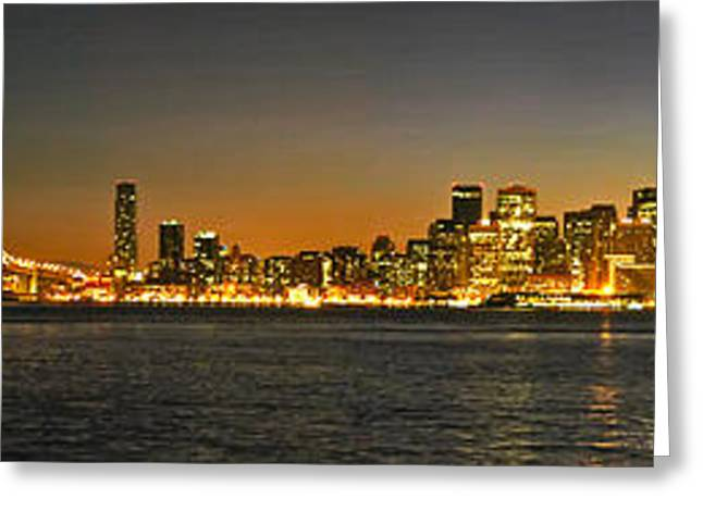 Bay Bridge Greeting Cards - San Francisco Nightscape Greeting Card by Keith Marsh