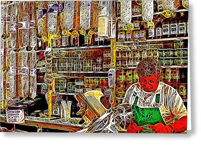 San Francisco North Beach Deli 20130505v2 square Greeting Card by Wingsdomain Art and Photography