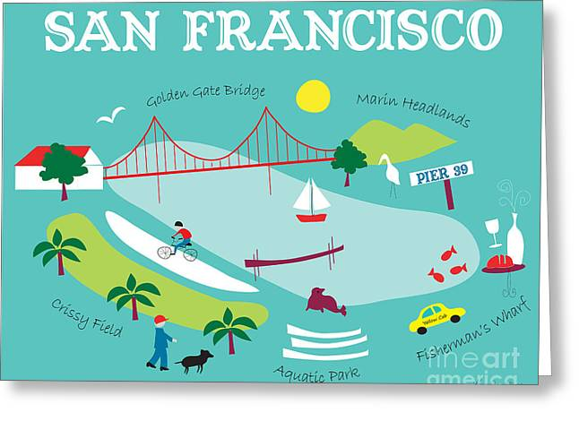 North Side Greeting Cards - San Francisco North Side Greeting Card by Karen Young