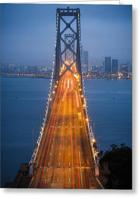 Treasures Greeting Cards - San Francisco - Oakland Bay Bridge Greeting Card by Adam Romanowicz