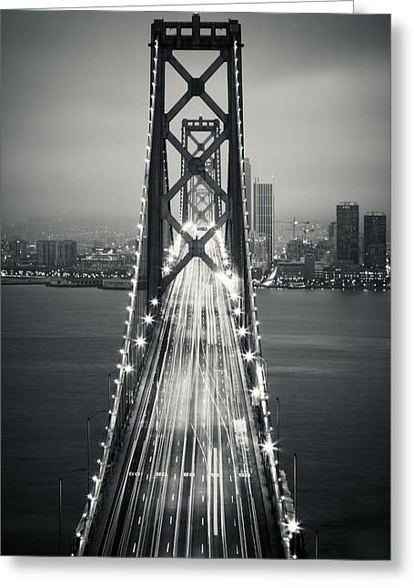 Bay Bridge Greeting Cards - San Francisco - Oakland Bay Bridge BW Greeting Card by Adam Romanowicz