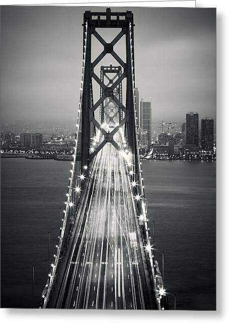 San Francisco - Oakland Bay Bridge Bw Greeting Card by Adam Romanowicz