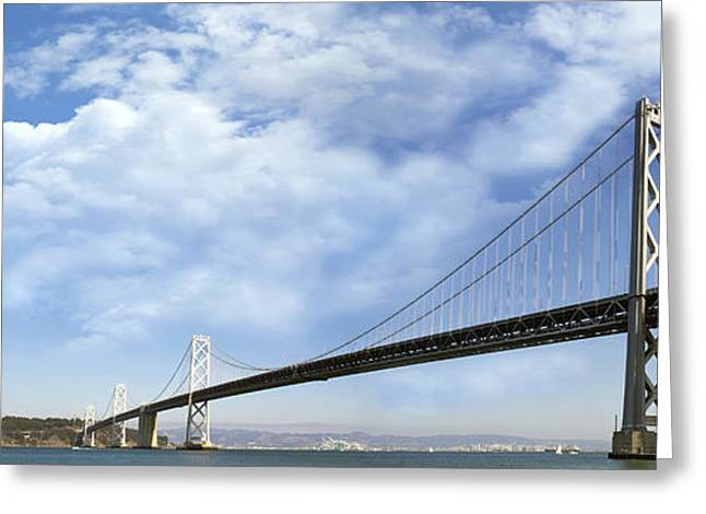 Rincon Greeting Cards - San Francisco Oakland Bay Bridge Greeting Card by JPLDesigns