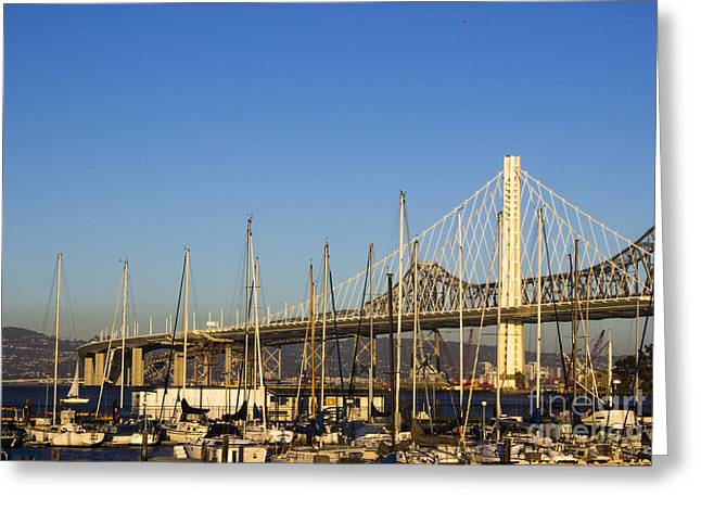 Architectural Treasure Greeting Cards - San Francisco - Oakland Bay Bridge New and Old Greeting Card by Jacqueline Barden