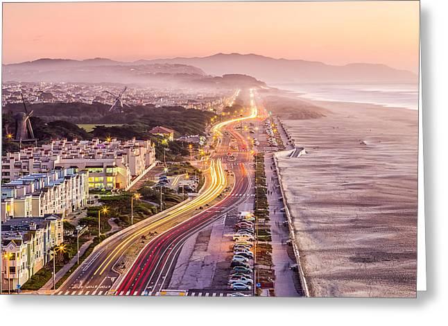 Dave Gordon Greeting Cards - San Francisco Ocean Beach Drive Greeting Card by Dave Gordon