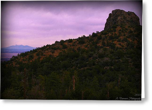Prescott Greeting Cards - San Francisco Peaks and Thumb Butte Greeting Card by Aaron Burrows