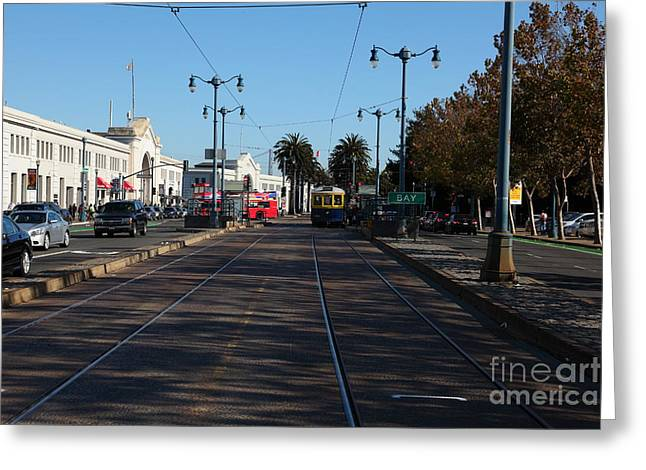 San Francisco Bus Tours Greeting Cards - San Francisco Pier Along The Embarcadero 5D26156 Greeting Card by Wingsdomain Art and Photography