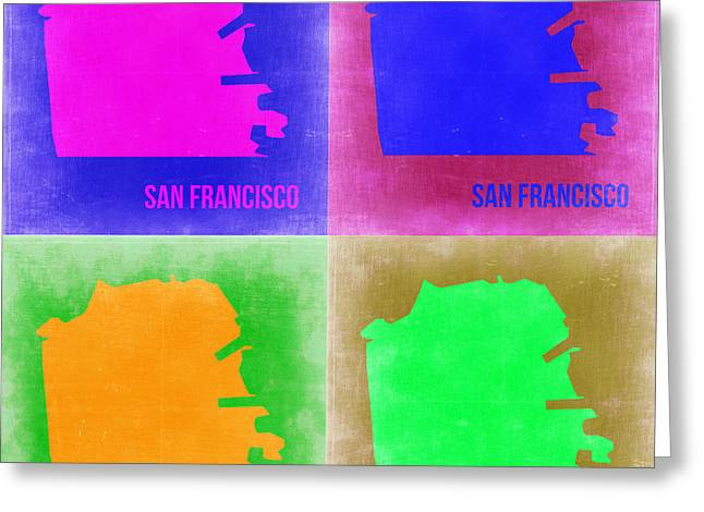 California Art Greeting Cards - San Francisco Pop Art Map 2 Greeting Card by Naxart Studio