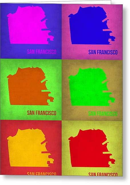 California Art Greeting Cards - San Francisco Pop Art Map 3 Greeting Card by Naxart Studio