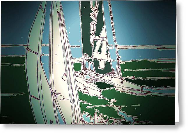 San Francisco Bay Drawings Greeting Cards - San Francisco Races Greeting Card by Andrew Drozdowicz