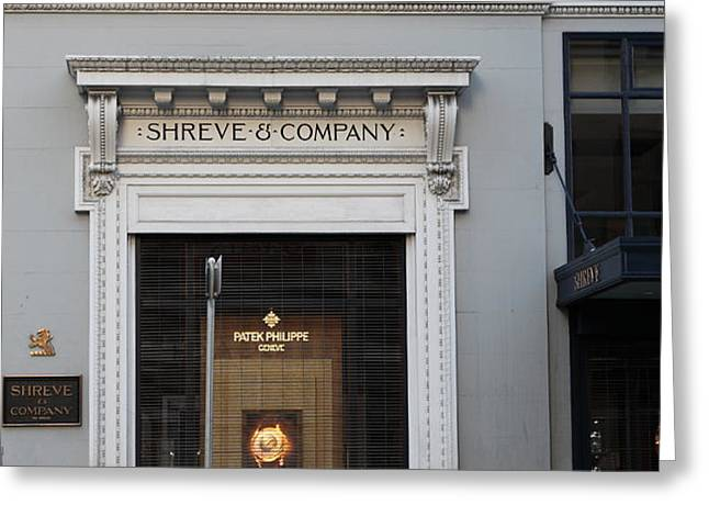 San Francisco Shreve Storefront - 5D20583 Greeting Card by Wingsdomain Art and Photography
