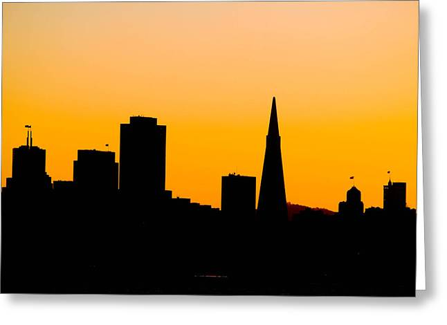 Downtown San Francisco Photographs Greeting Cards - San Francisco Silhouette Greeting Card by Bill Gallagher