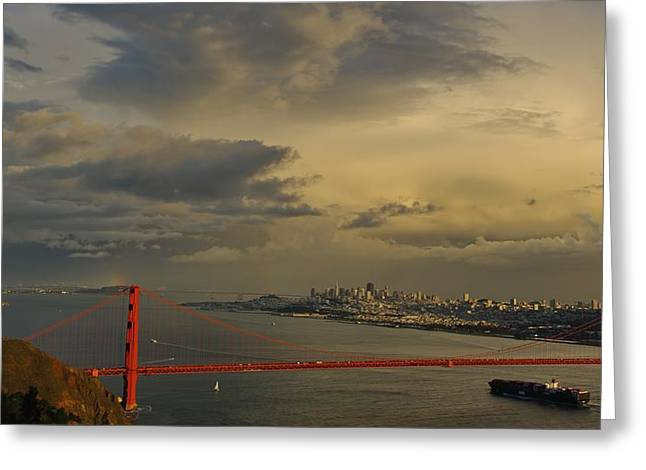 Double Rainbow Greeting Cards - San Francisco Sky Greeting Card by Raana Arts
