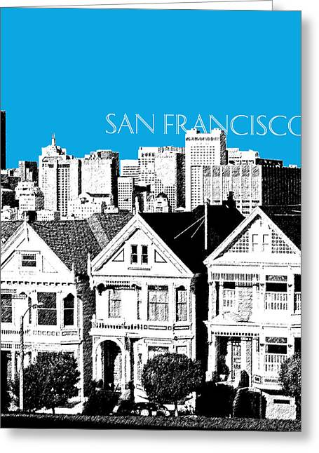 Pen Greeting Cards - San Francisco Skyline Alamo Square - Ice Blue Greeting Card by DB Artist
