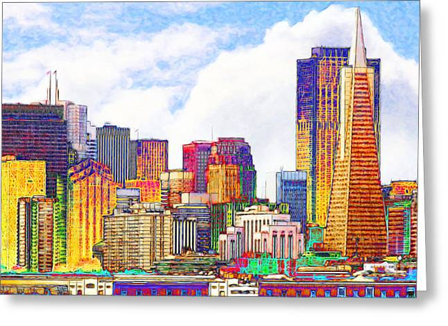 Port Of San Francisco Greeting Cards - San Francisco Skyline Along The Embarcadero 5D29399 Photoart Long Greeting Card by Wingsdomain Art and Photography