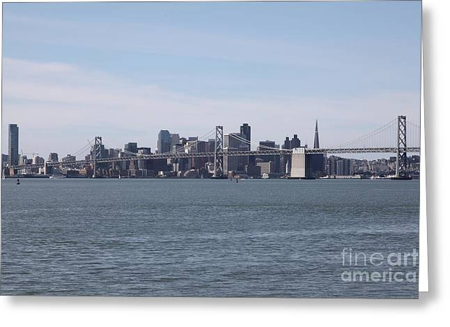 San Francisco Oakland Bay Bridge Greeting Cards - San Francisco Skyline and The Bay Bridge D22259 Greeting Card by Wingsdomain Art and Photography