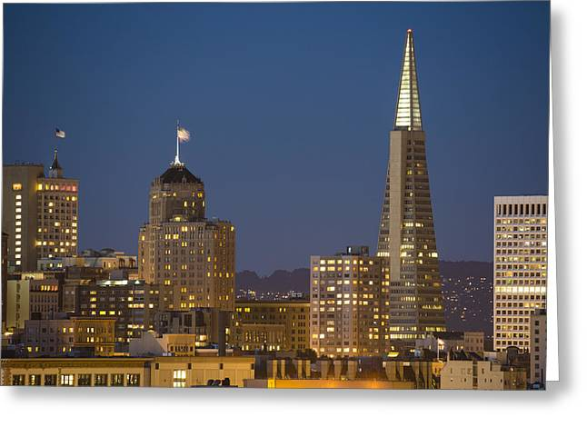 Pyramids Art Greeting Cards - San Francisco Skyline at Dusk Greeting Card by Adam Romanowicz