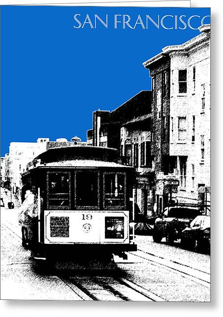 San Francisco Skyline Cable Car 1 - Blue Greeting Card by DB Artist