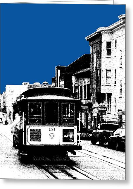 Cable Car Greeting Cards - San Francisco Skyline Cable Car 1 - Royal Blue Greeting Card by DB Artist