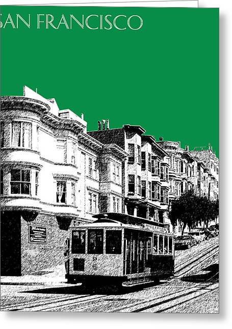 San Francisco Skyline Cable Car 2 - Forest Green Greeting Card by DB Artist