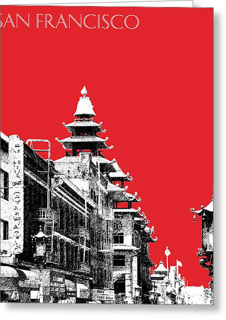 San Francisco Skyline Chinatown - Red Greeting Card by DB Artist