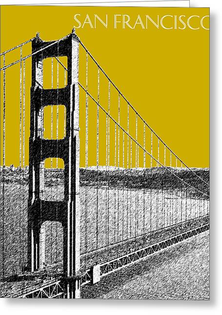 Pen And Ink Greeting Cards - San Francisco Skyline Golden Gate Bridge 1 - Gold Greeting Card by DB Artist
