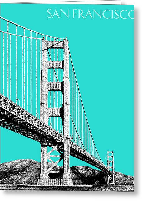 San Francisco Skyline Golden Gate Bridge 2 - Aqua Greeting Card by DB Artist