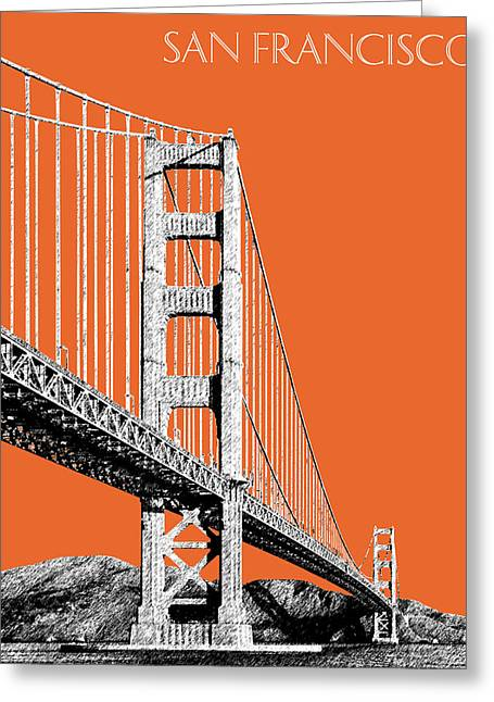 Pen Digital Greeting Cards - San Francisco Skyline Golden Gate Bridge 2 - Coral Greeting Card by DB Artist