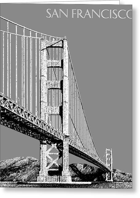 Pen Greeting Cards - San Francisco Skyline Golden Gate Bridge 2 - Pewter Greeting Card by DB Artist