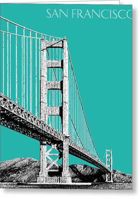 Golden Gate Greeting Cards - San Francisco Skyline Golden Gate Bridge 2 - Teal Greeting Card by DB Artist