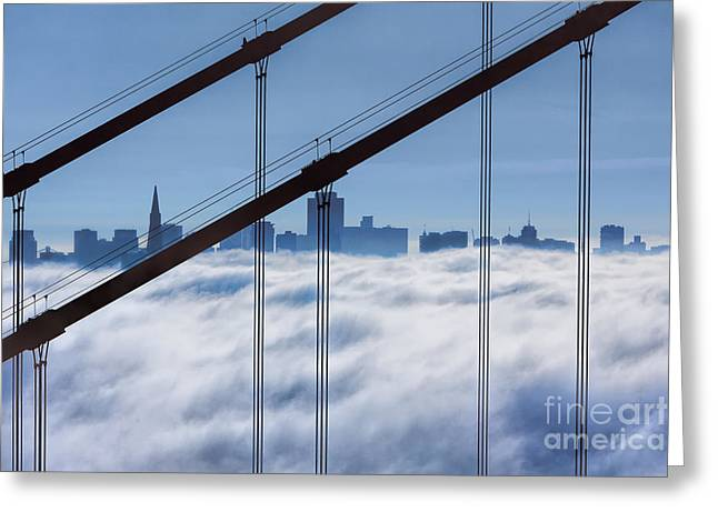 Marin County Greeting Cards - San Francisco Skyline in Fog Greeting Card by Jerry Fornarotto