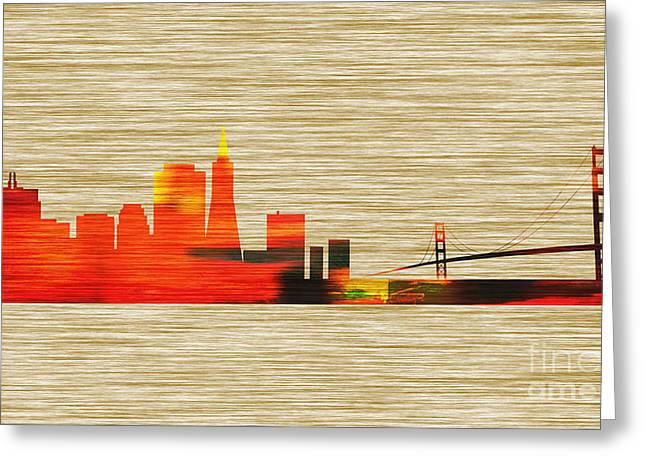 Downtown San Francisco Mixed Media Greeting Cards - San Francisco Skyline Greeting Card by Marvin Blaine